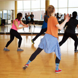 Group of women doing dance based exercise
