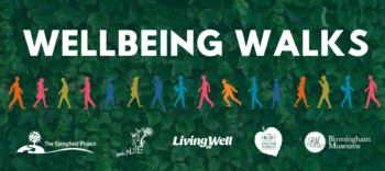 Banner image with 'Wellbeing Walks' written in white against a leaf background and silhouette figures walking beneath for Mental Health Awareness Week Wellbeing Walks